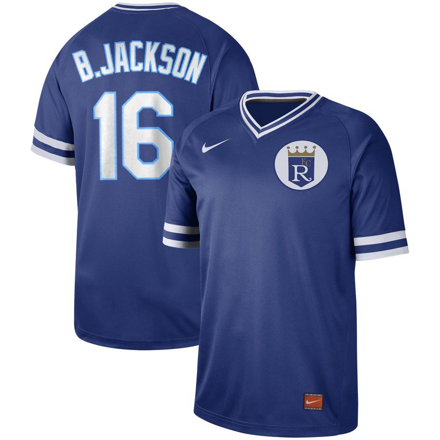 2019 Men MLB Kansas City Royals 16 B Jackson blue Nike Cooperstown Collection Jerseys