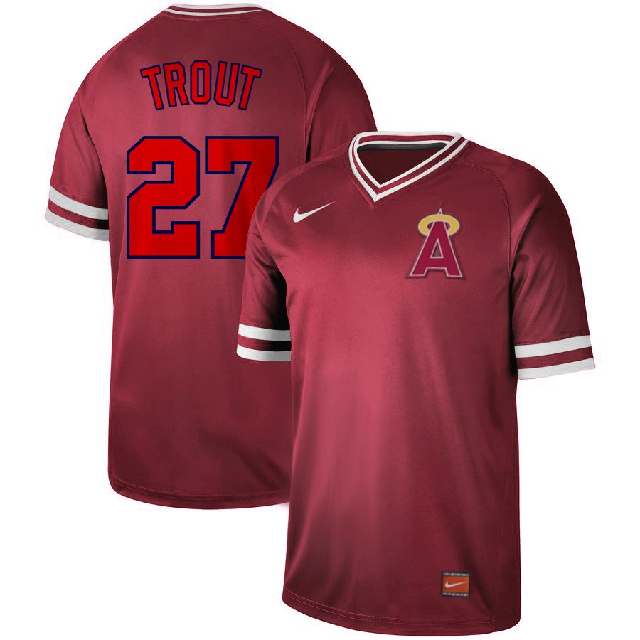 2019 Men MLB Los Angeles Angels 27 Trout red Nike Cooperstown Collection Jerseys