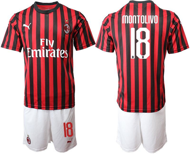 Men 2019-2020 club AC milan home 18 red Soccer Jerseys