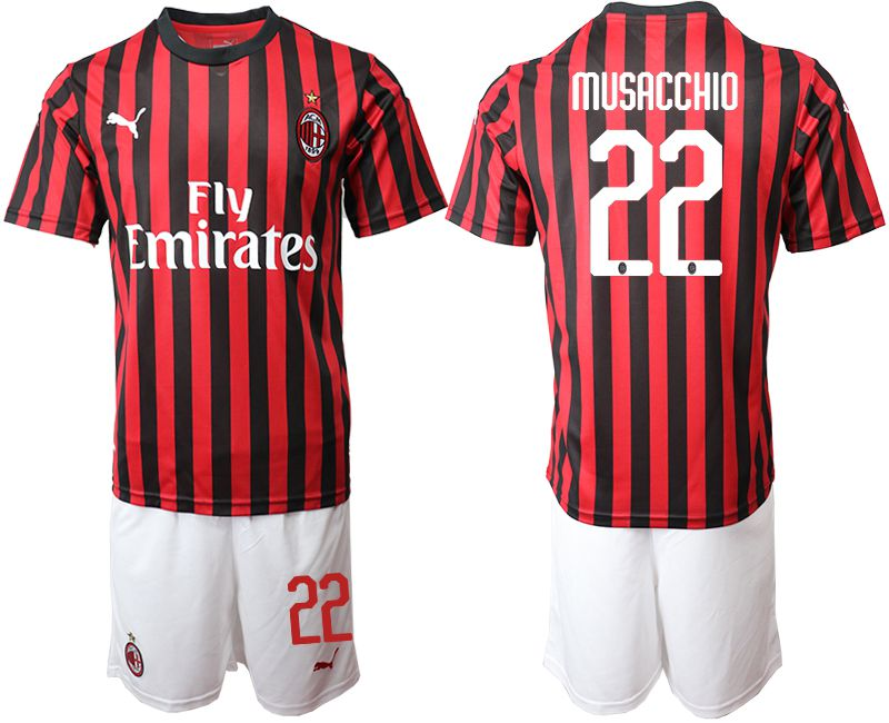 Men 2019-2020 club AC milan home 22 red Soccer Jerseys