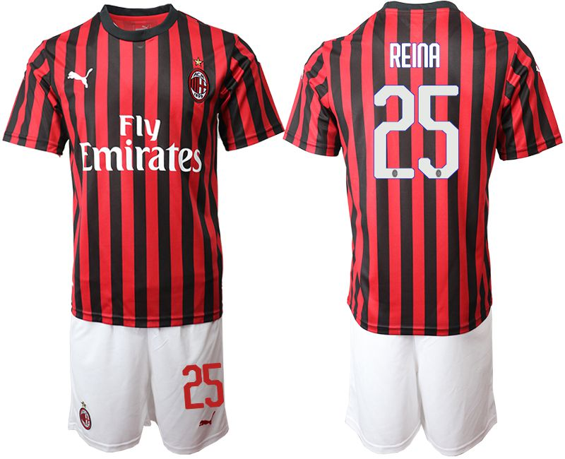 Men 2019-2020 club AC milan home 25 red Soccer Jerseys