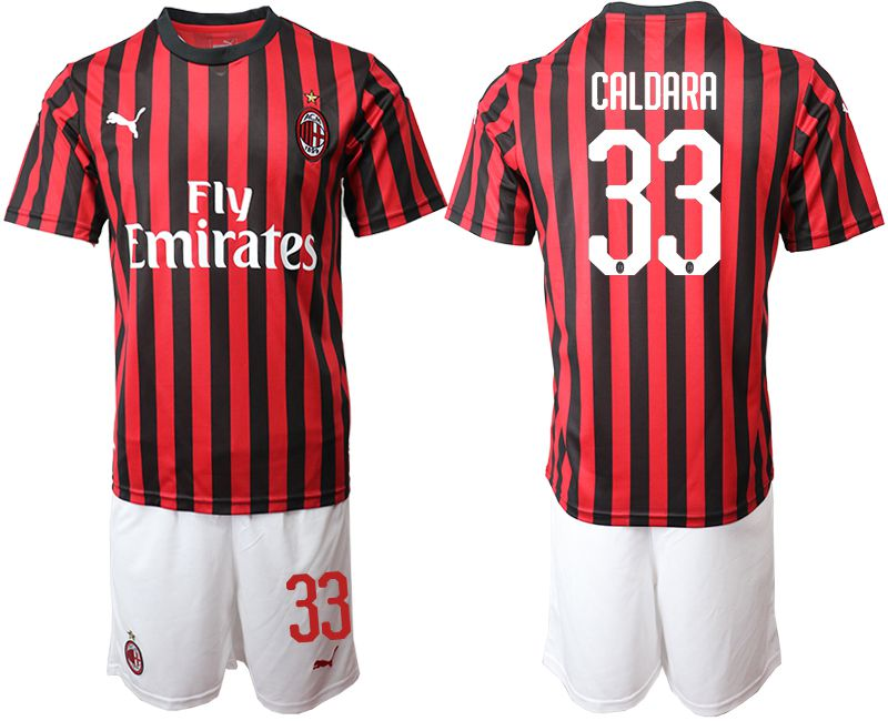 Men 2019-2020 club AC milan home 33 red Soccer Jerseys