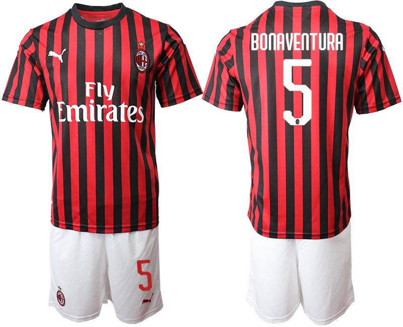 Men 2019-2020 club AC milan home 5 red Soccer Jerseys