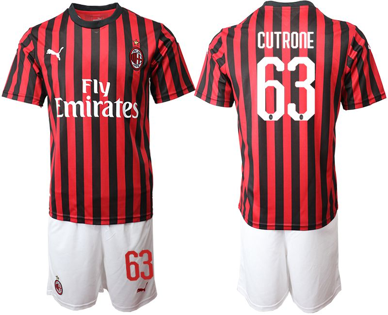 Men 2019-2020 club AC milan home 63 red Soccer Jerseys