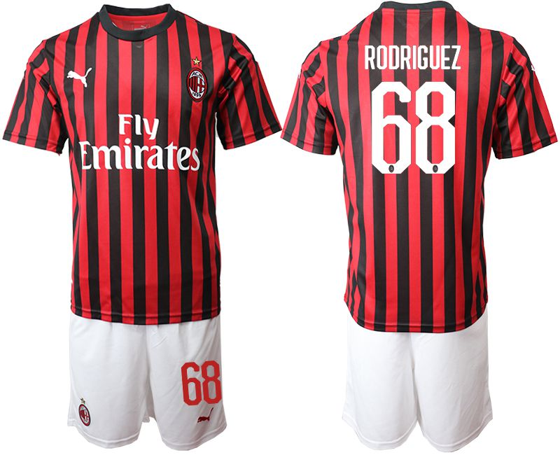 Men 2019-2020 club AC milan home 68 red Soccer Jerseys