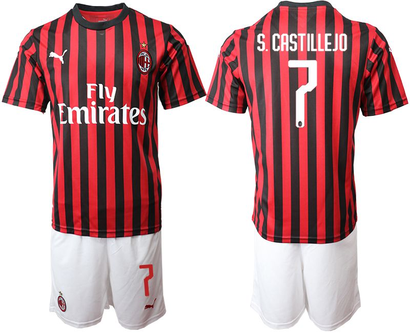 Men 2019-2020 club AC milan home 7 red Soccer Jerseys