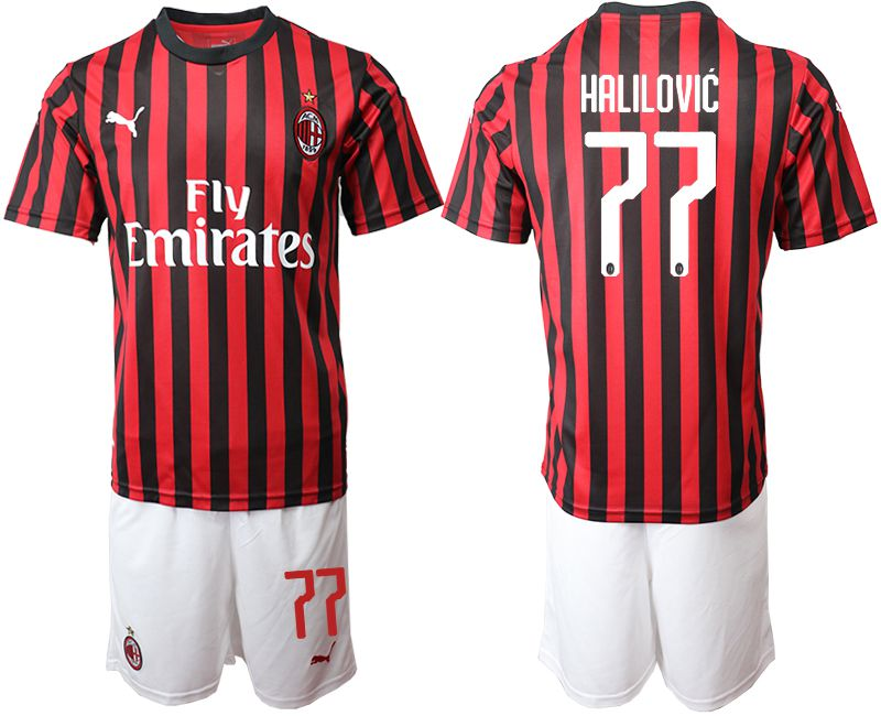 Men 2019-2020 club AC milan home 77 red Soccer Jerseys