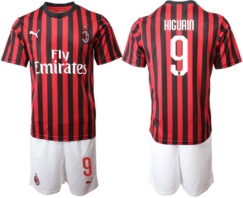 Men 2019-2020 club AC milan home 9 red Soccer Jerseys