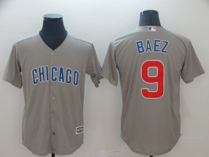 Men Chicago Cubs 9 Baez Grey Game MLB Jerseys