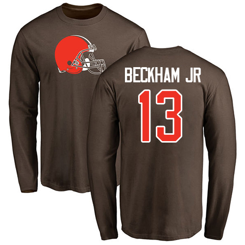 Men Cleveland Browns 13 Beckham Jr Browns Color Name Number Logo Long Sleeve Nike NFL T-Shirt