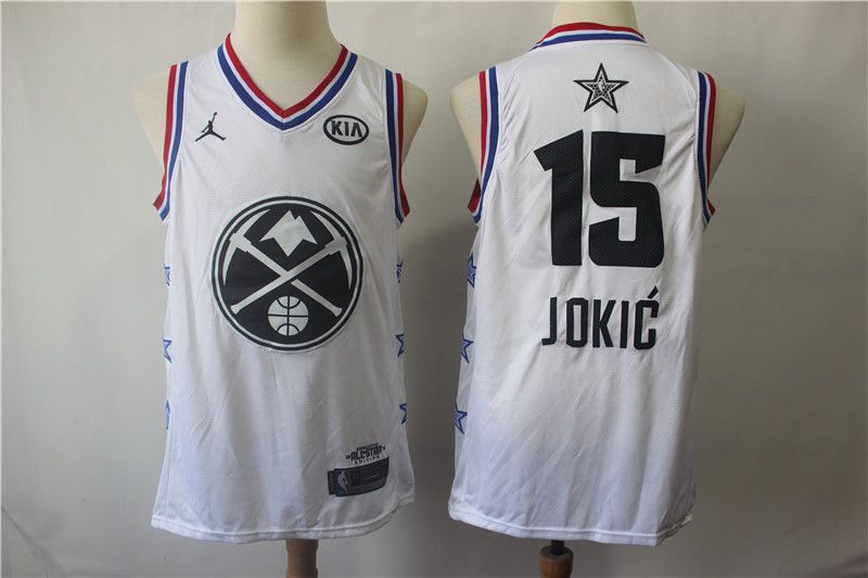 Men Denver Nuggets 15 Jokic White 2019 All Star NBA Jerseys