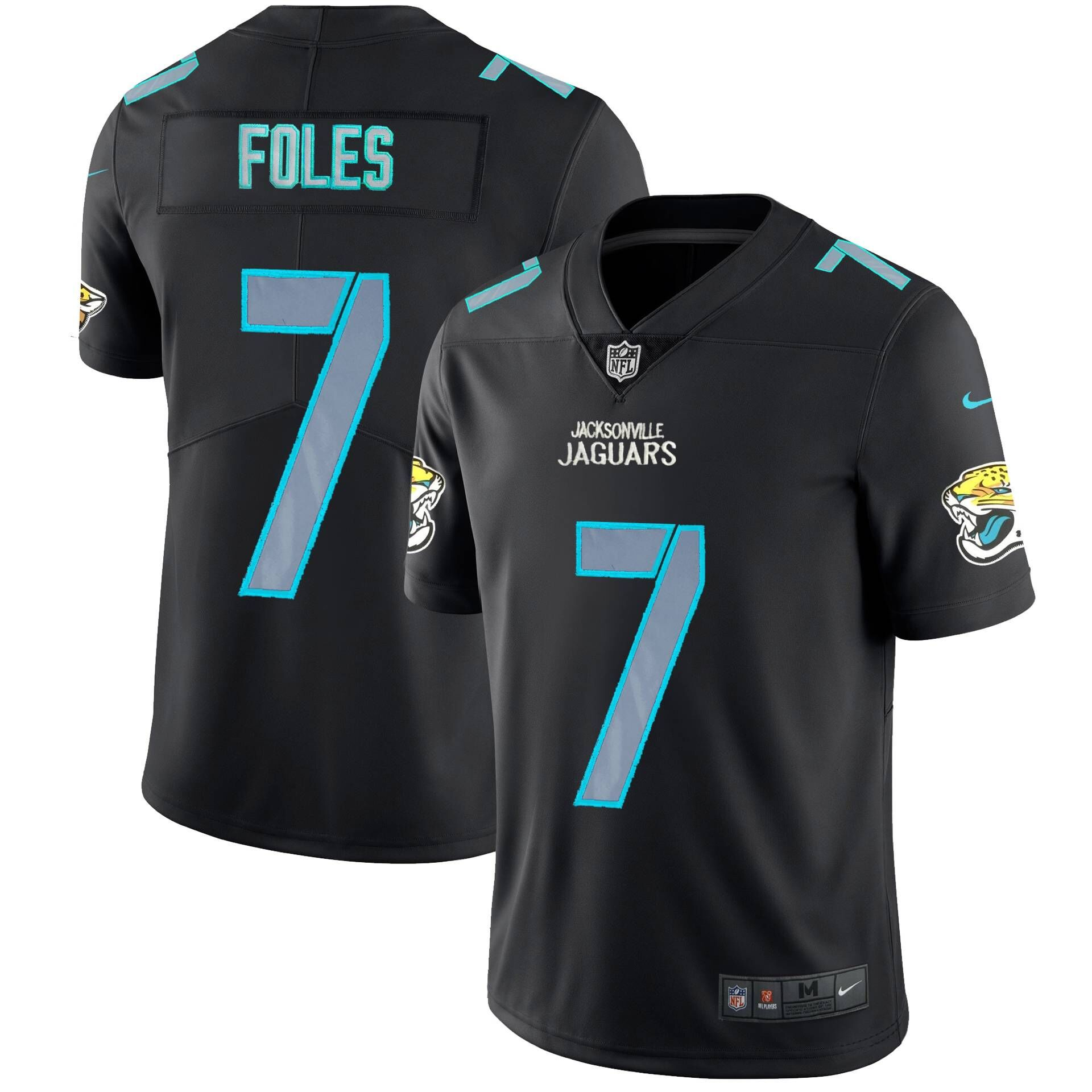 Men Jacksonville Jaguars 7 Foles Nike Fashion Impact Black Color Rush Limited NFL Jerseys
