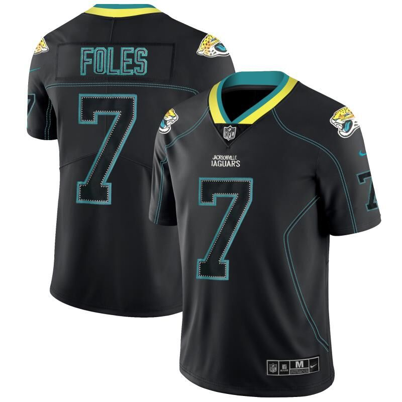 Men Jacksonville Jaguars 7 Foles Nike Lights Out Black Color Rush Limited NFL Jerseys