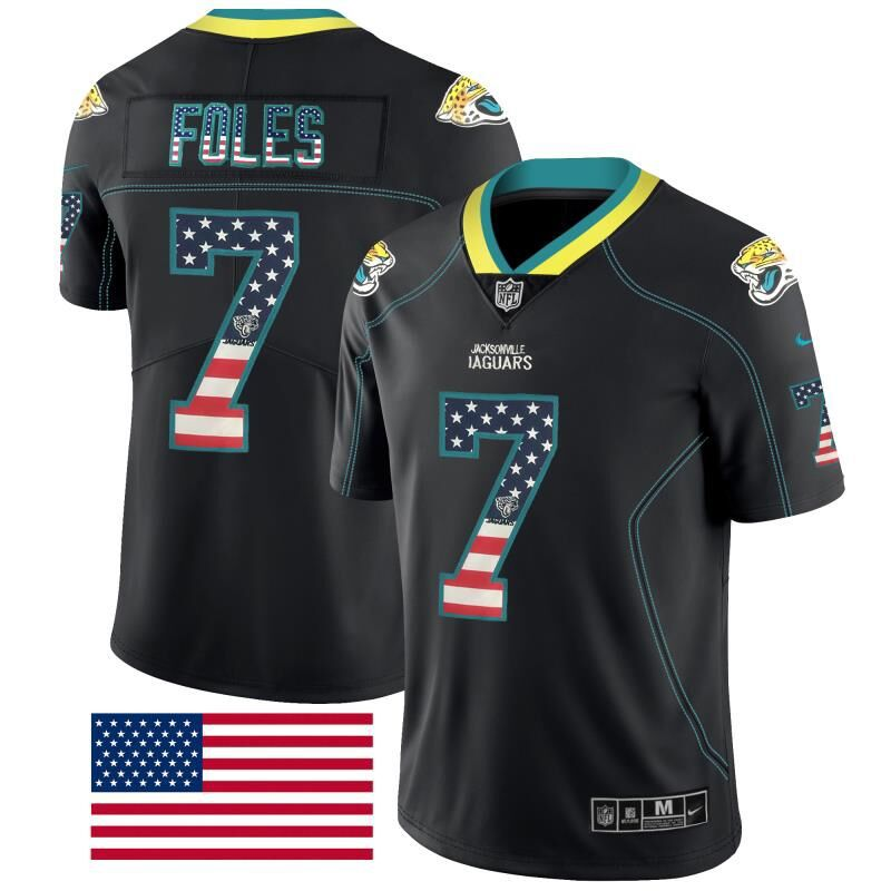Men Jacksonville Jaguars 7 Foles Nike USA Flag Fashion Black Color Rush Limited NFL Jerseys