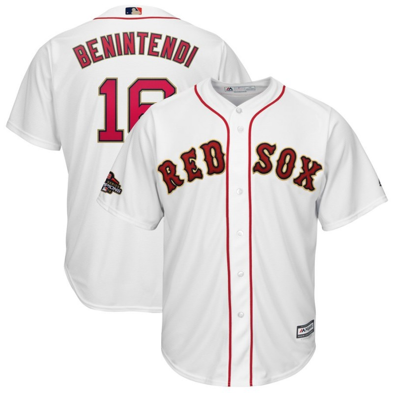 Men MLB Boston Red Sox 16 Benintendi white Gold Letter game jerseys