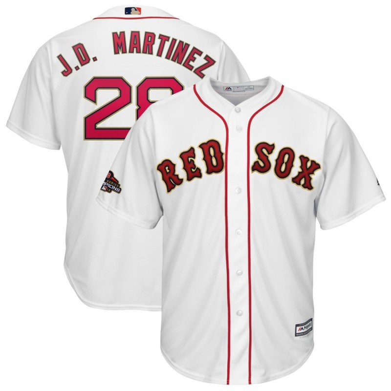 Men MLB Boston Red Sox 28 J.D.Martinez white Gold Letter game jerseys