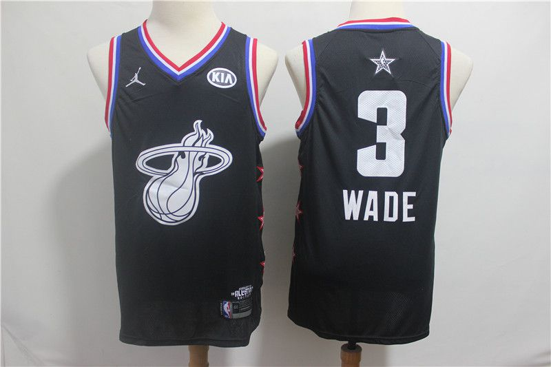Men Miami Heat 3 Wade Black 2019 All Star NBA Jerseys