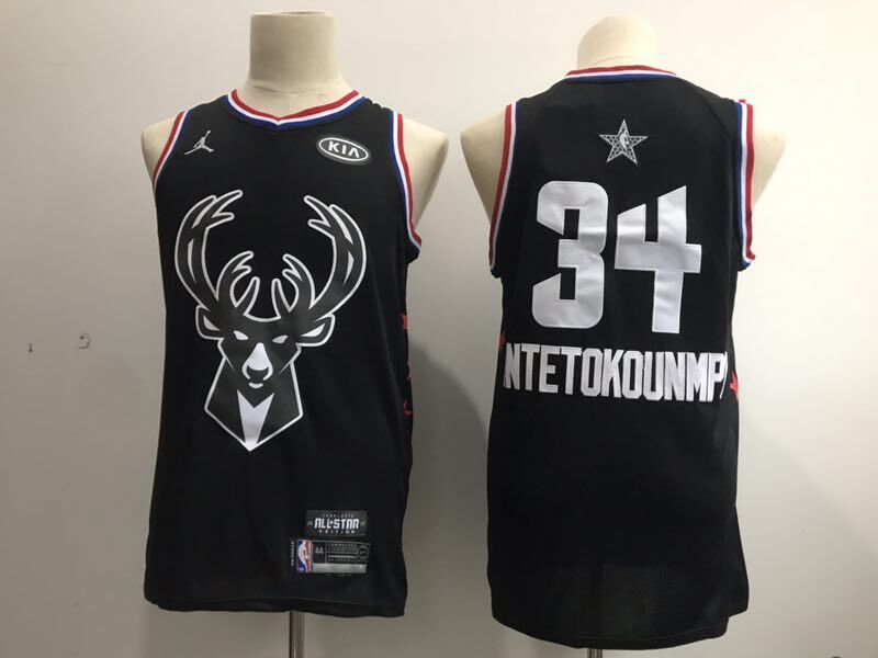Men Milwaukee Bucks 34 Antetokounmp Black 2019 All Star NBA Jerseys