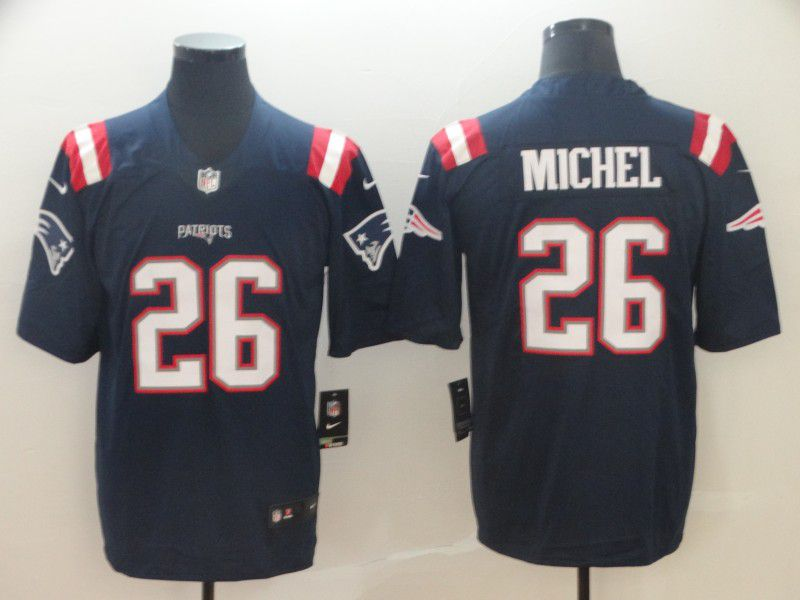 Men New England Patriots 26 Michel Blue Nike Vapor Untouchable Limited Player NFL Jerseys