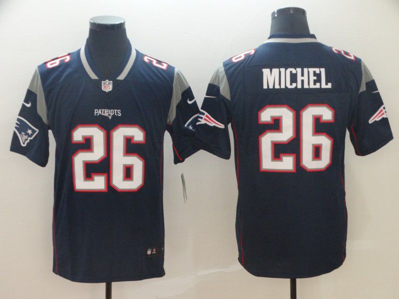 Men New England Patriots 26 Michel Blue Nike Vapor Untouchable Limited Player NFL Jerseys1
