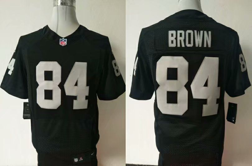 Men Oakland Raiders 84 Brown Black Elite Nike NFL Jerseys