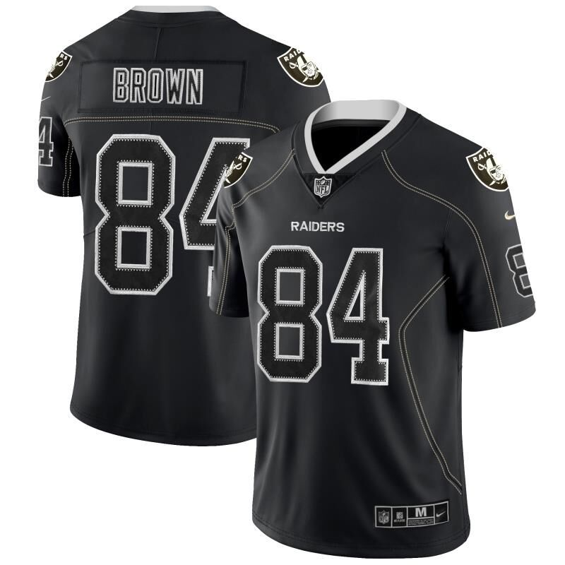 Men Oakland Raiders 84 Brown Nike Lights Out Black Color Rush Limited NFL Jerseys