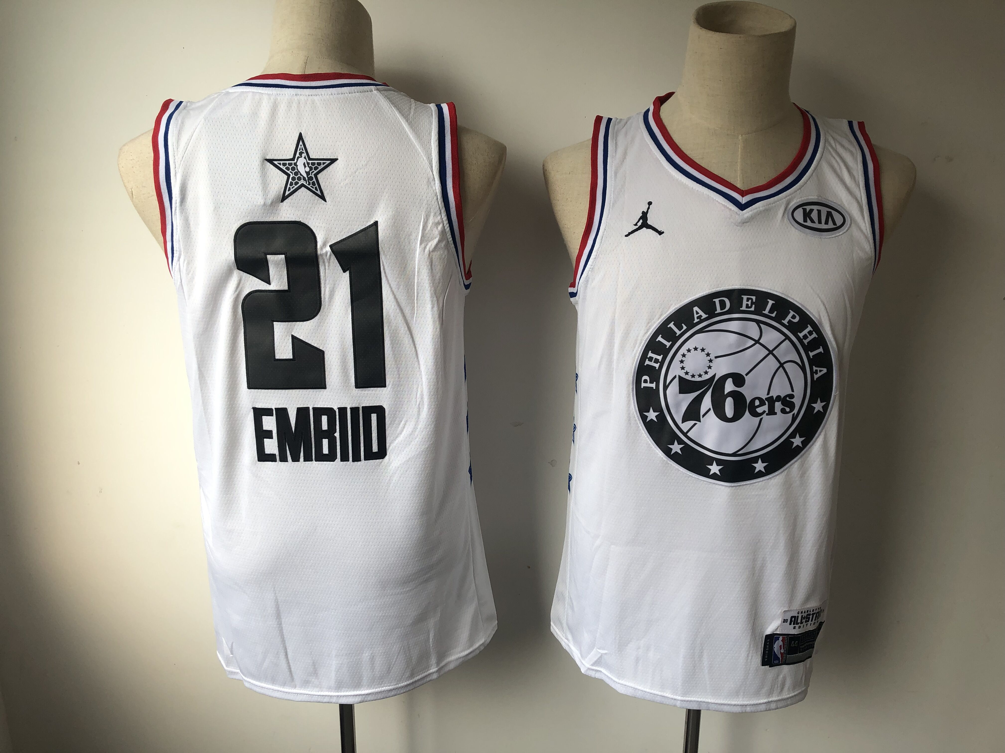 67c7a85b65e Men Philadelphia 76ers 21 Embiid White 2019 All Star NBA Jerseys