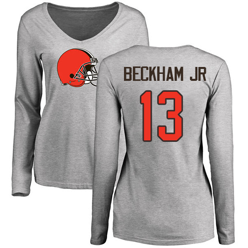 Women Cleveland Browns 13 Beckham Jr Gray Color Name Number Logo Long Sleeve Nike NFL T-Shirt