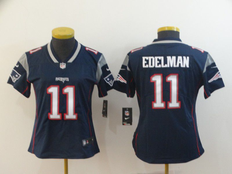 Women New England Patriots 11 Edelman Blue Nike Vapor Untouchable Limited NFL Jerseys