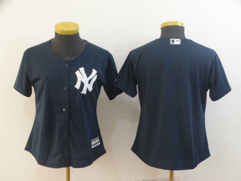 Women New York Yankees Blank Blue MLB Jerseys