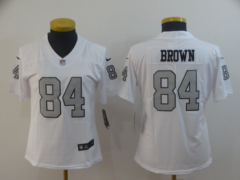 Women Oakland Raiders 84 Brown White Nike Vapor Untouchable Limited NFL Jerseys