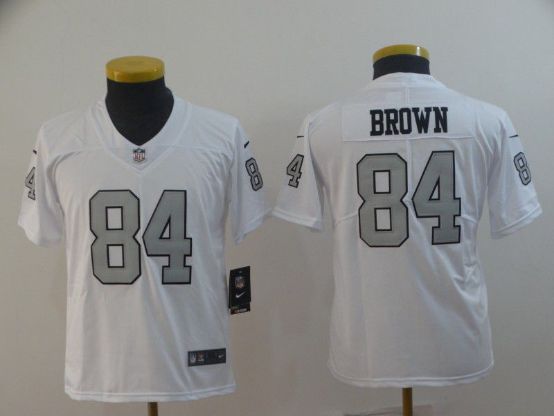 Youth Oakland Raiders 84 Brown White Nike Vapor Untouchable Limited NFL Jerseys