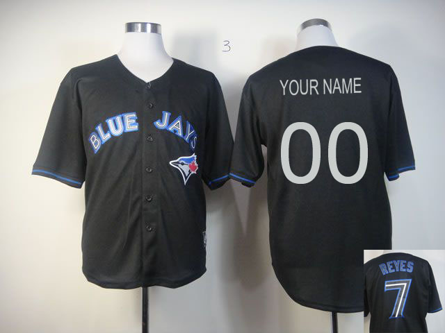 Customized Men Toronto Blue Jays Blank Black MLB Jerseys