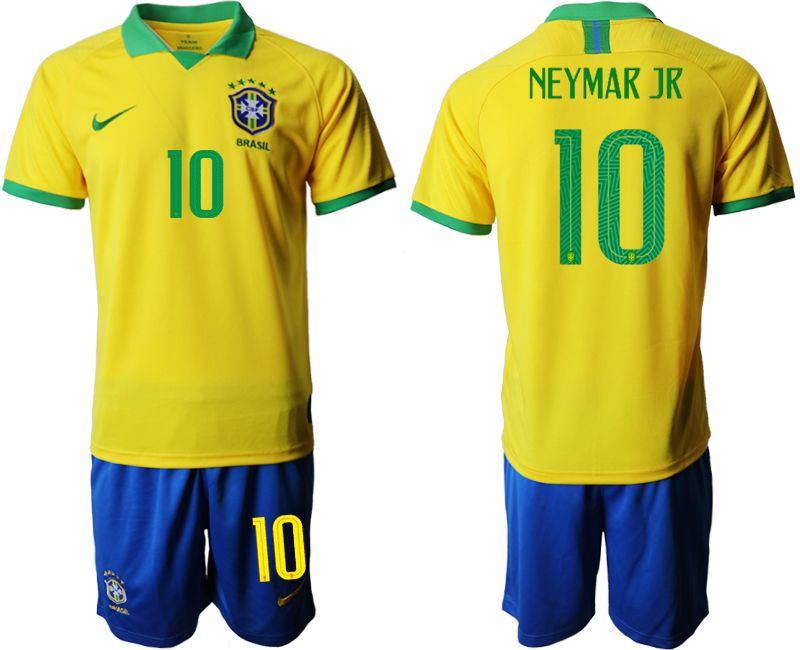 Men 2019-2020 Season National Team Brazil home 10 yellow Soccer Jerseys
