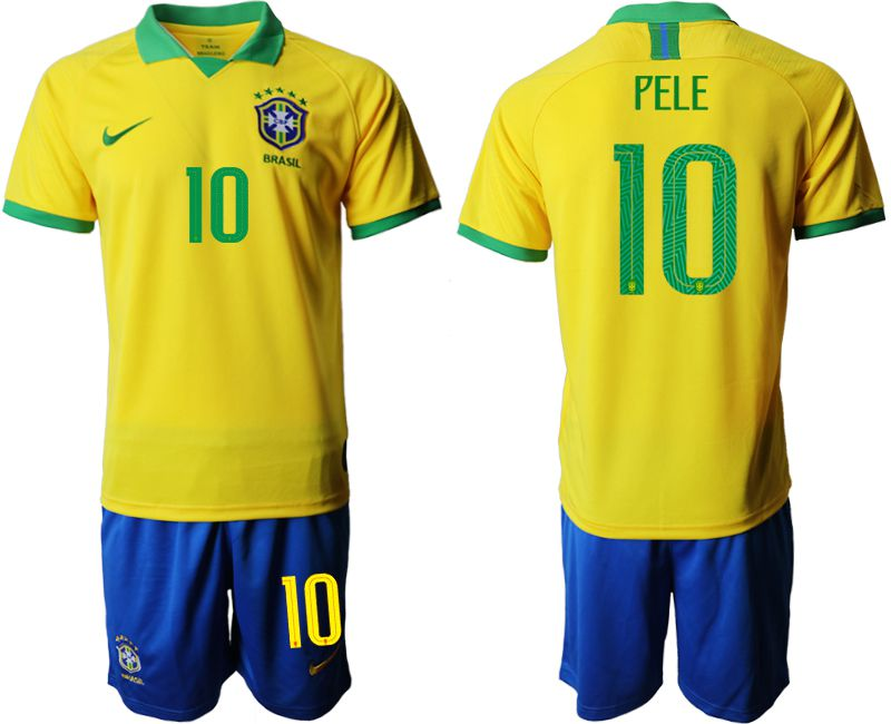 Men 2019-2020 Season National Team Brazil home 10 yellow Soccer Jerseys2
