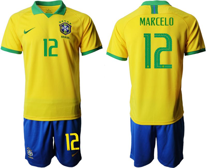 Men 2019-2020 Season National Team Brazil home 12 yellow Soccer Jerseys