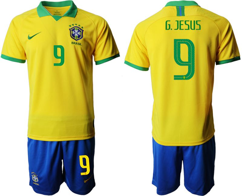 Men 2019-2020 Season National Team Brazil home 9 yellow Soccer Jerseys