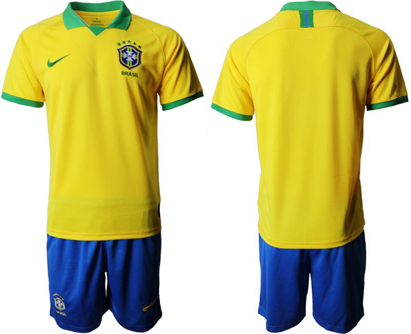 Men 2019-2020 Season National Team Brazil home yellow Soccer Jerseys