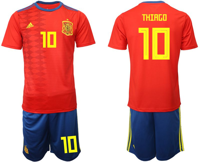 Men 2019-2020 Season National Team Spain home 10 red Soccer Jerseys