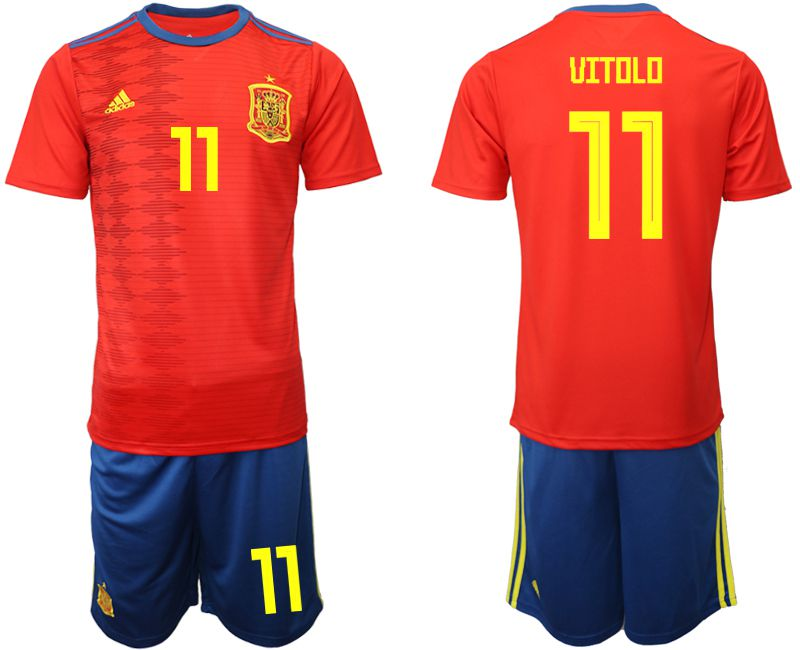 Men 2019-2020 Season National Team Spain home 11 red Soccer Jerseys