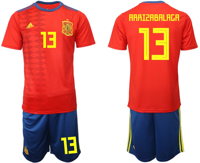Men 2019-2020 Season National Team Spain home 13 red Soccer Jerseys