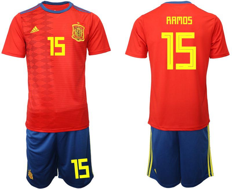 Men 2019-2020 Season National Team Spain home 15 red Soccer Jerseys