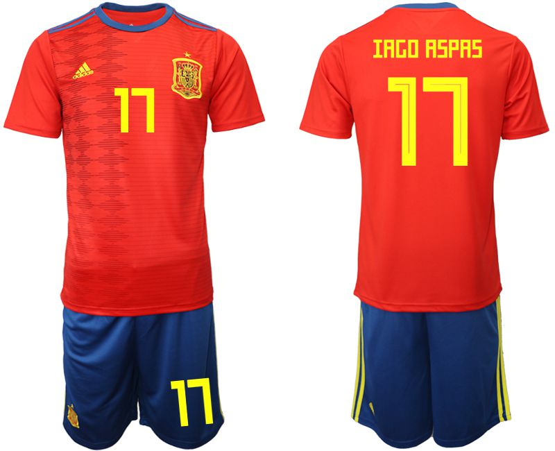 Men 2019-2020 Season National Team Spain home 17 red Soccer Jerseys