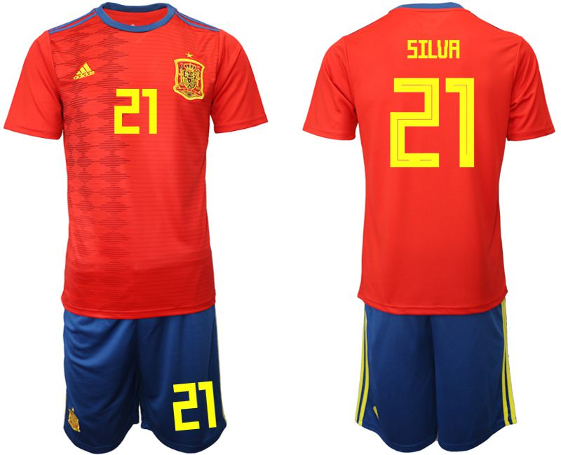 Men 2019-2020 Season National Team Spain home 21 red Soccer Jerseys
