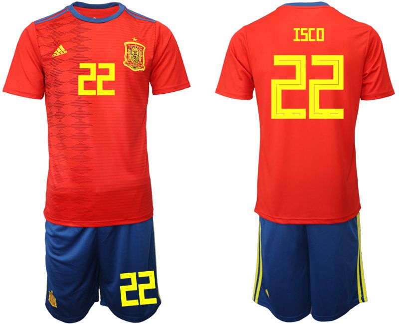 Men 2019-2020 Season National Team Spain home 22 red Soccer Jerseys