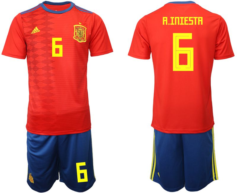 Men 2019-2020 Season National Team Spain home 6 red Soccer Jerseys
