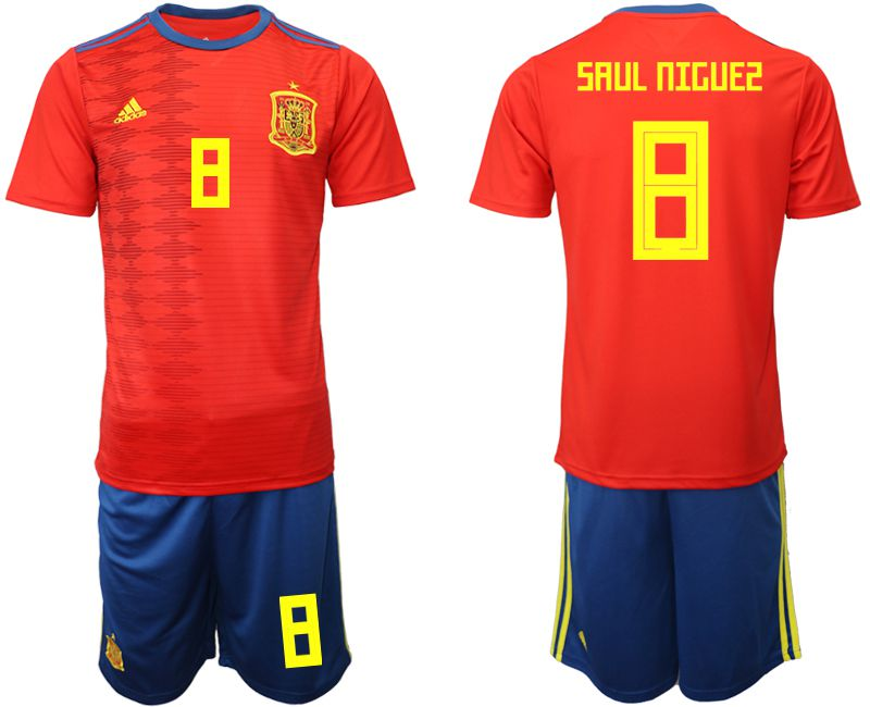 Men 2019-2020 Season National Team Spain home 8 red Soccer Jerseys