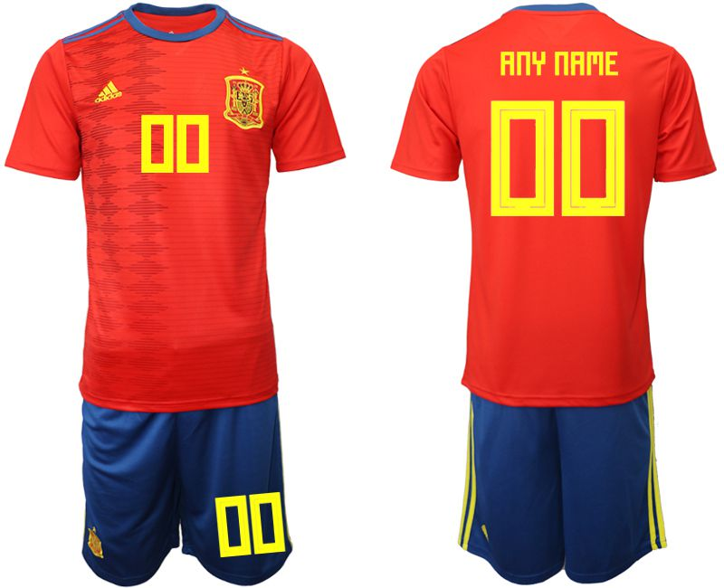 Men 2019-2020 Season National Team Spain home customized red Soccer Jerseys