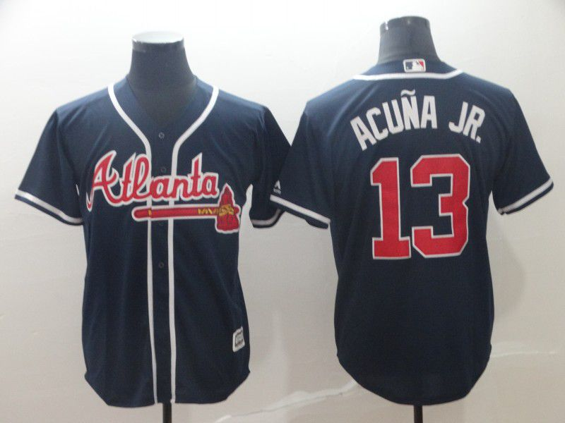 Men Atlanta Braves 13 Acuna jr Blue Game MLB Jersey