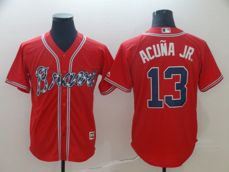 Men Atlanta Braves 13 Acuna jr Red Game MLB Jersey